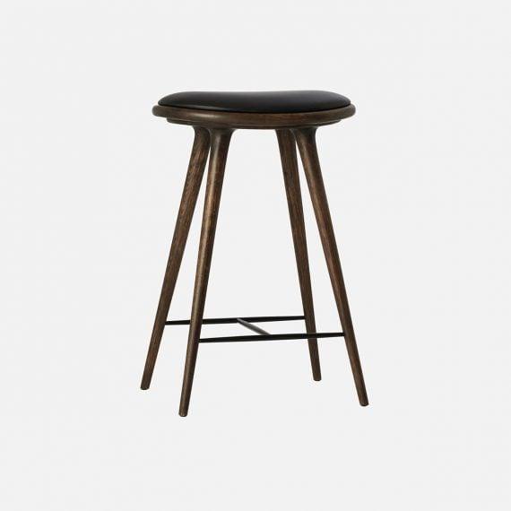 MATER Bar stol sirka grey eik/svart skinn