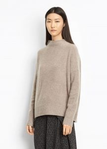 Cashmere Funnel Neck Pullover Taupe
