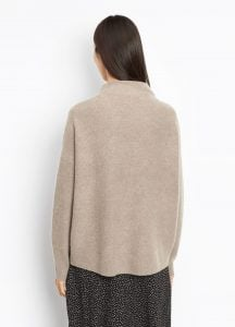 Cashmere Funnel Neck Pullover taupe back