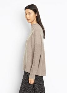 Cashmere Funnel Neck Pullover taupe side