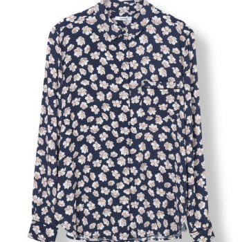 Ganni Montrose Crepe Skjorte Mørk blå
