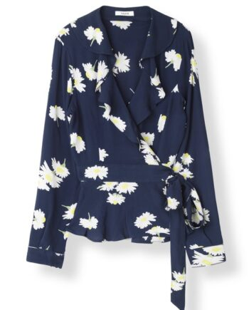 Ganni Silvery Wrap blouse / Total Eclipse