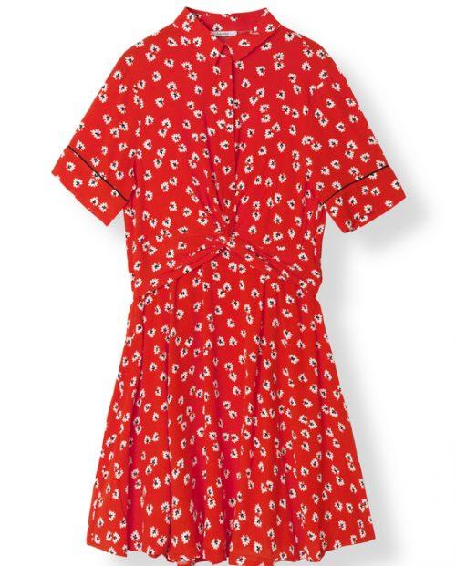Ganni Silvery Crepe Twist Dress / Big Apple Red