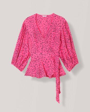 Ganni Barra crepe wrap blouse
