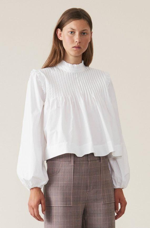 Ganni Plain cotton poplin- skjort