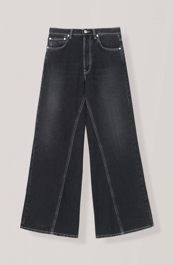 Washed Denim Brede Bukser - Vasket sort