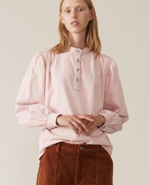 Ganni Soft Denim Bluse - Rosa