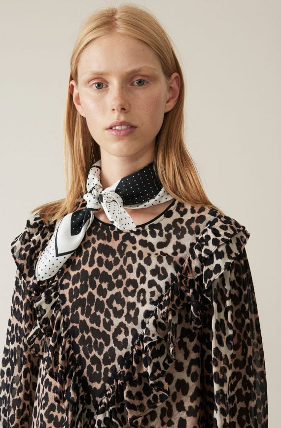 Ganni Printed Georgette, Leopard kjole