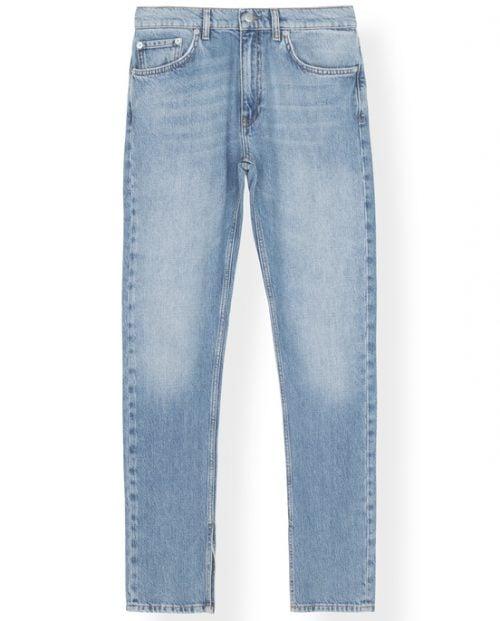 Ganni Slit Denim Jeans - Bleket blå