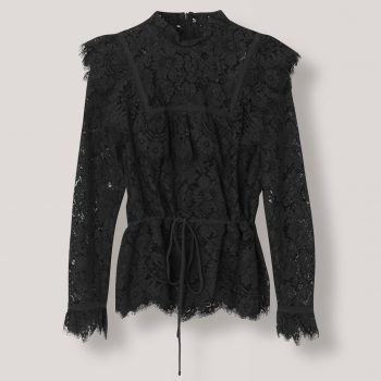 GANNI Jerome Lace Blouse Sort