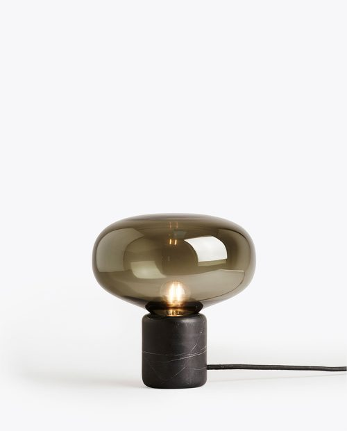 KARL-JOHAN TABLE LAMP - BLACK MARQUINA W. SMOKED GLASS