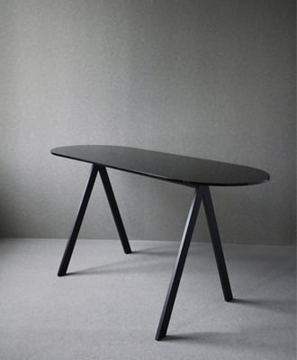Saw desk table black marble