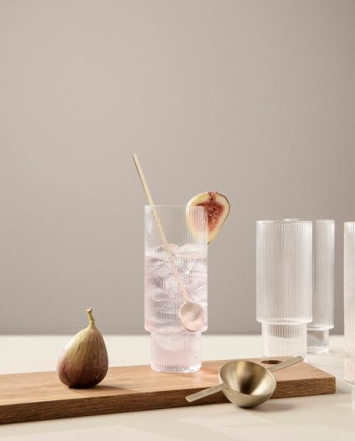 FERM LIVING Glass Ripple Long Drink - 4 stk