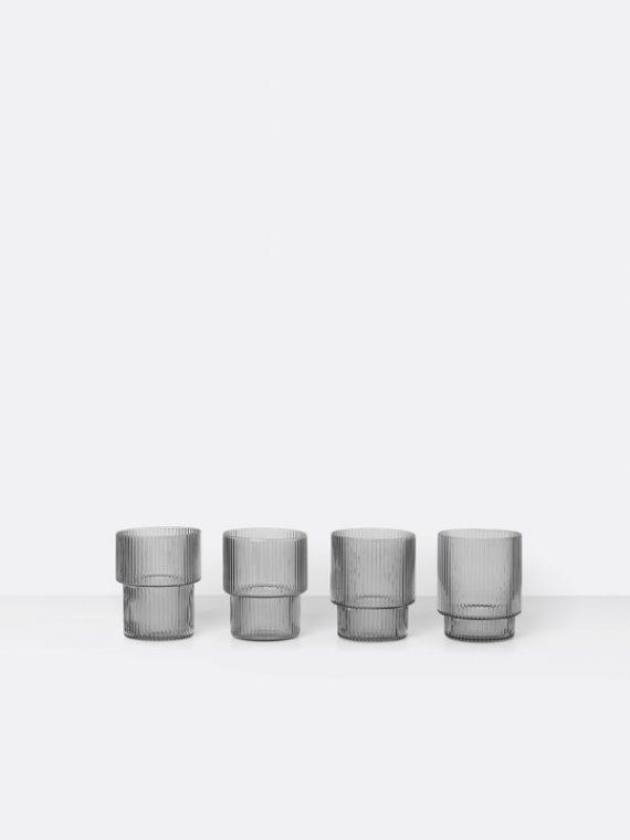 ferm-living-ripple-glass-4stk-smoked-grey