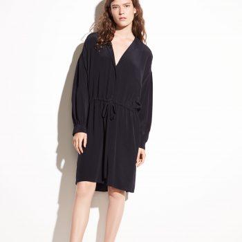Vince Shirred Silk Dress