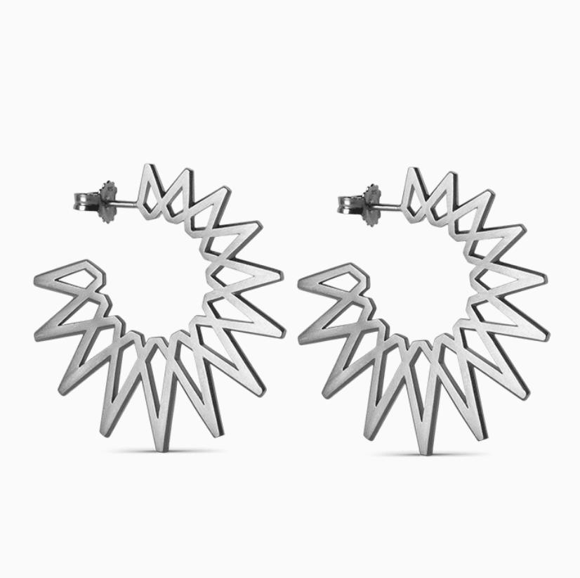 Jane König Big Sun øreringer sølv