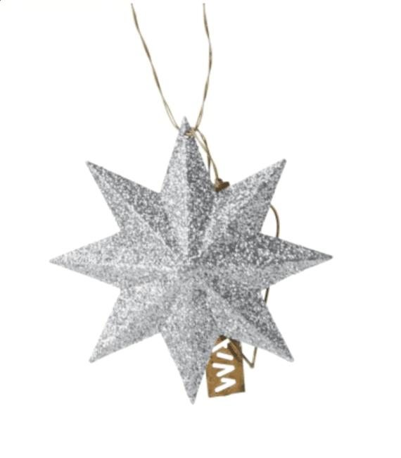 Walther & Co Glitter sølvstjerne 7cm
