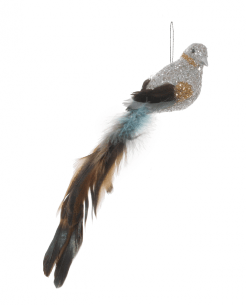 Fugl med glitter og fjær Sølv/blå