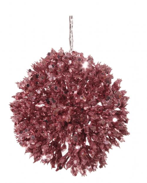 Julekule, Korall rosa glitter ball