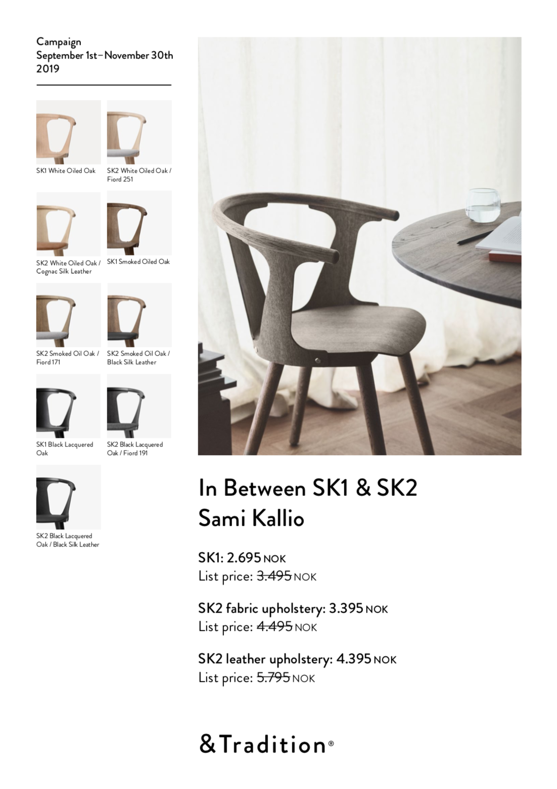 And tradition IN BETWEEN CHAIR SK1 Hvitoljet eik hos bohemia.no