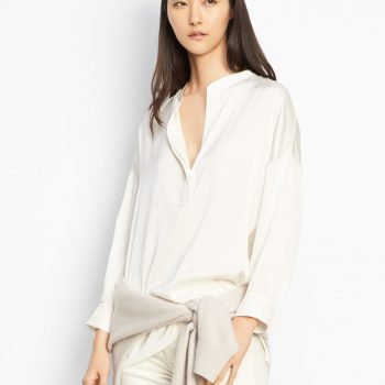Vince Shirred Drape Pullover Ivory