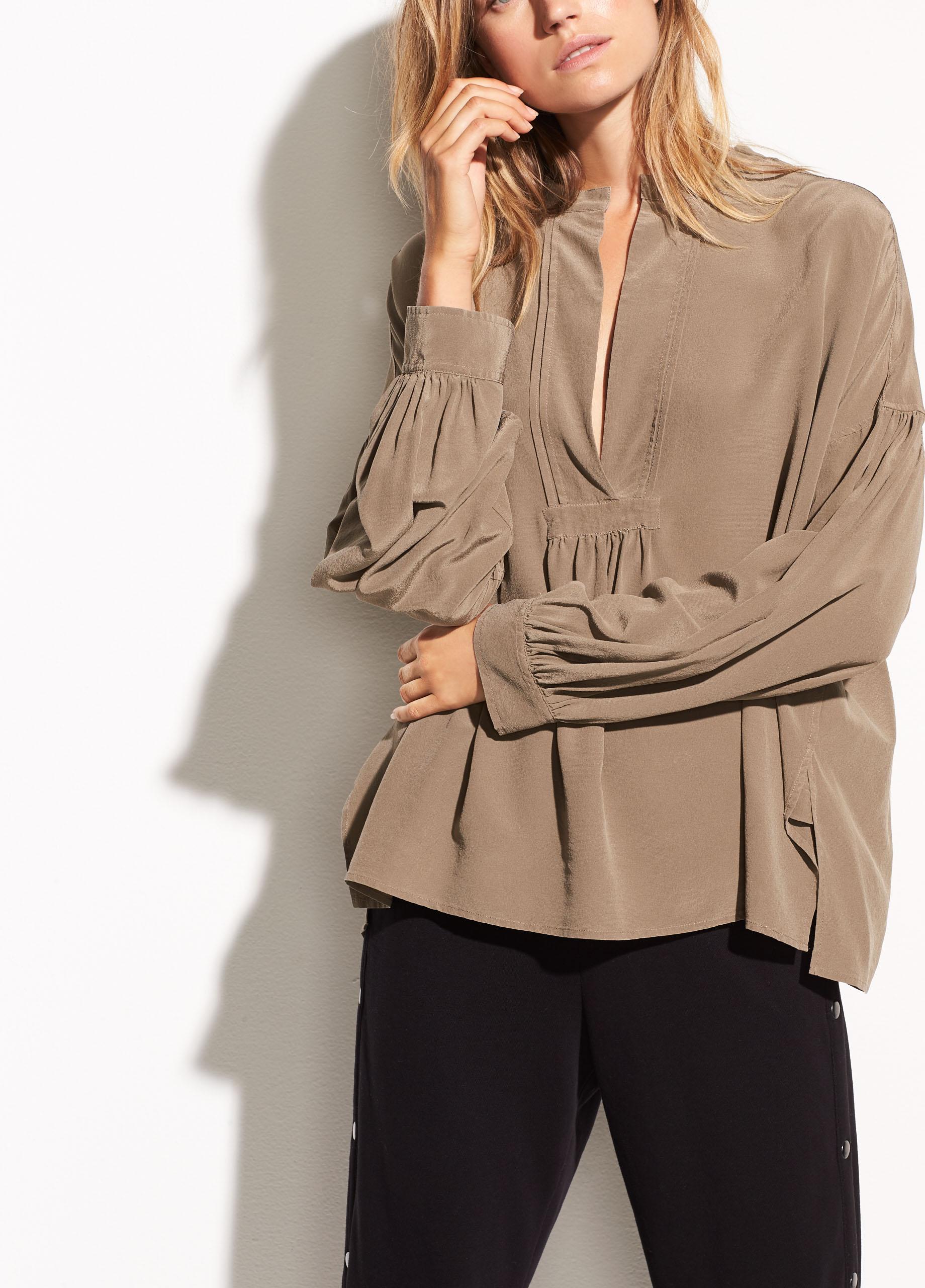 VINCE Shirred silk blouse JAVA