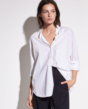 VINCE Raw Edge Cotton and Silk Shirt