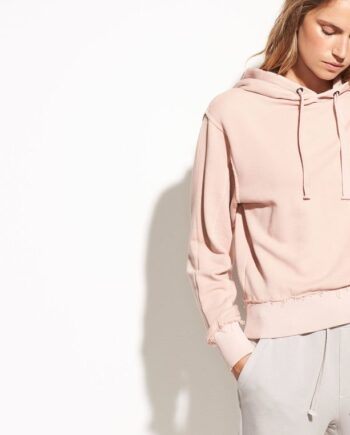 VINCE Raw Edge French Terry Hoodie, Quarts (rosa)