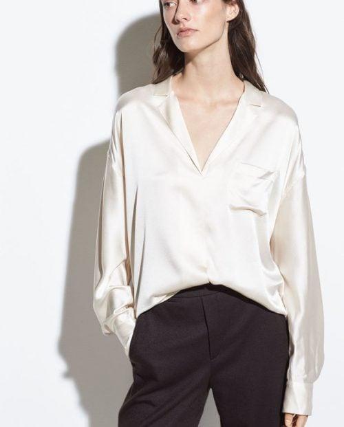Vince-Silk-Satin Pajama Popover