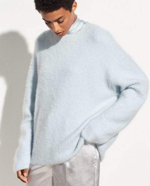 Vince Brushed Oversized Crew Ice blue