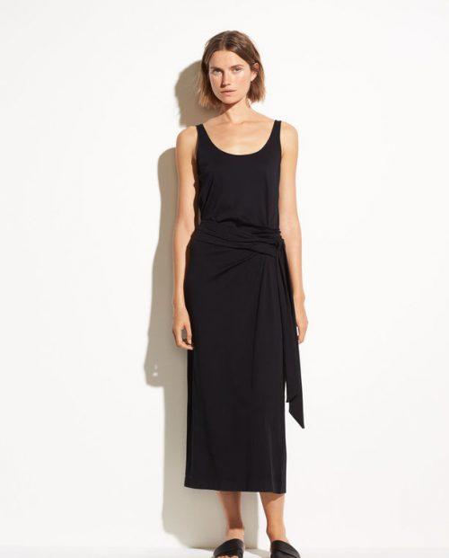 Vince Sleeveless Pima Cotton Wrap Dress