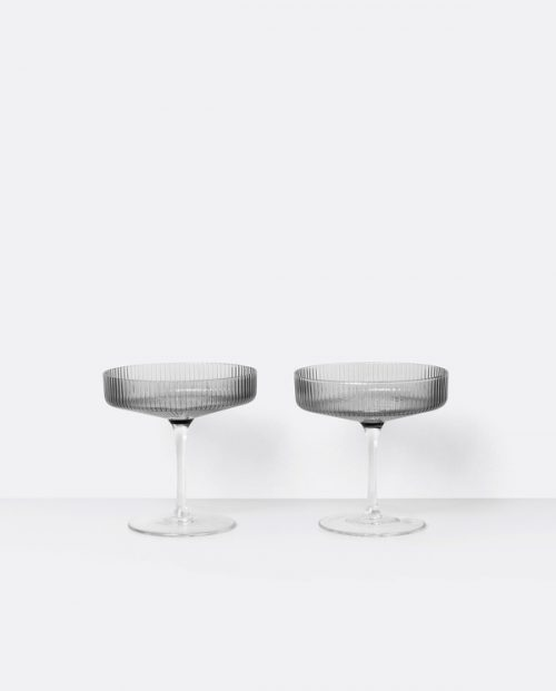 FERM LIVING Ripple Carafe Set - Small - Smoked Grey