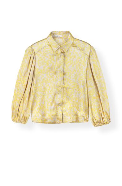 ganni-heavy-satin-skjorte-gul