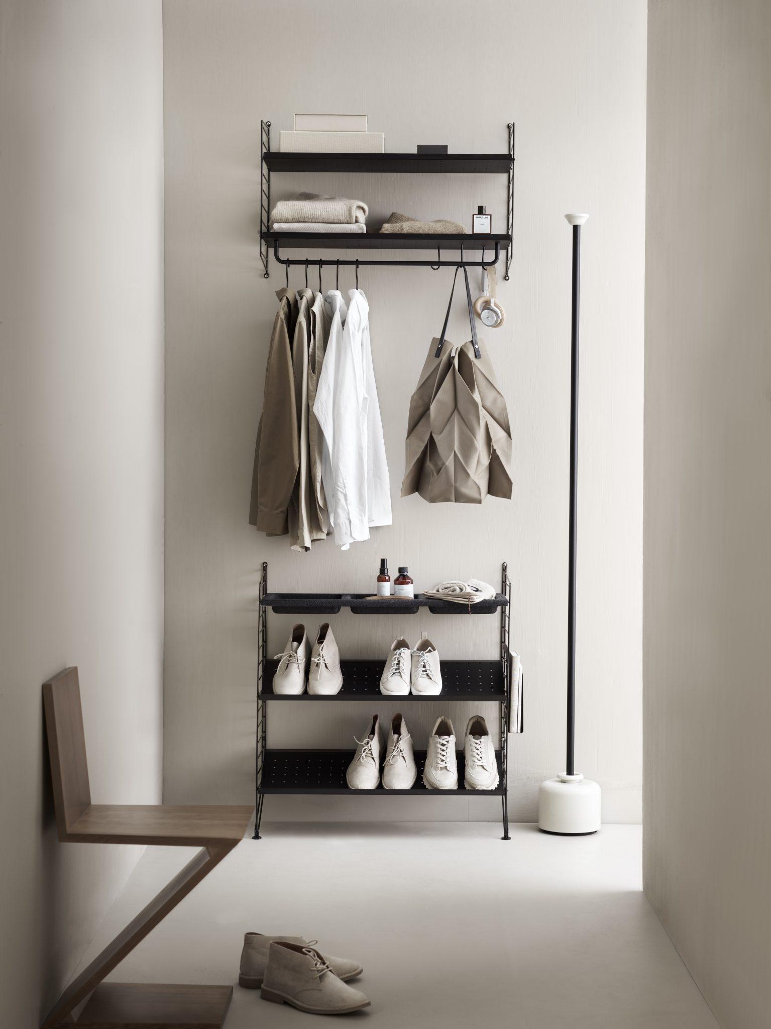 Enorm String Garderobe til Entré - Bohemia Beige, grå, hvit vegghylle GP-86